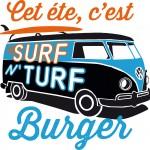 Le logo du nouveau burger Surf n' Turf de FrogPubs