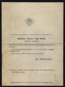 Le certificat de décès de Van Gogh