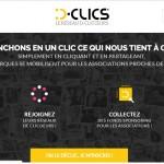 La home page de D-Clics.com, la première plateforme de crowdsponsoring entre entreprises, association et clicoeurs