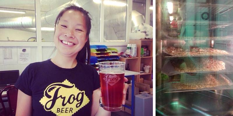 Eugénie Mai-Thé, co-brasseuse en chef de FrogBeer et le malt de Vincennes torréfié dans la brasserie Frog XVI