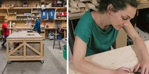 L'atelier bois d'ICI Montreuil (crédit : Julien Dominguez) / Sarah Fournis (crédit : photo personnelle)